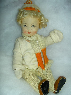 Sweet antique c1913, sgnd. Gebruder BING, large German, jointed felt, cloth doll