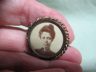 Antique Victorian Mourning Jewelry Brooch pin Lady