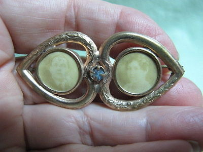 Antique Victorian Mourning Jewelry Double HEART SHAPE  Brooch pin Lady & Man