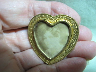 Antique Victorian Mourning Jewelry HEART SHAPE  Brooch pin Lady