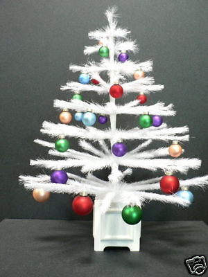 WHITE FEATHER TABLETOP CHRISTMAS TREE w/ ORNAMENTS