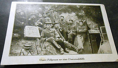 Germany WW I. PC - German Soldiers in a trench - used as Fieldpost nice postmark