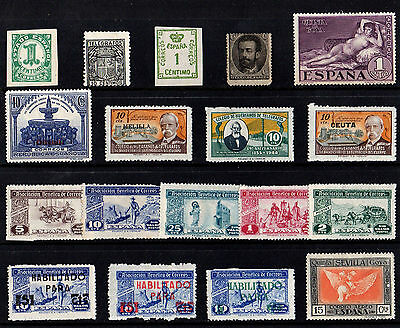 Spain Espana Collection Of 18 Old Stamps & Overprints Mint