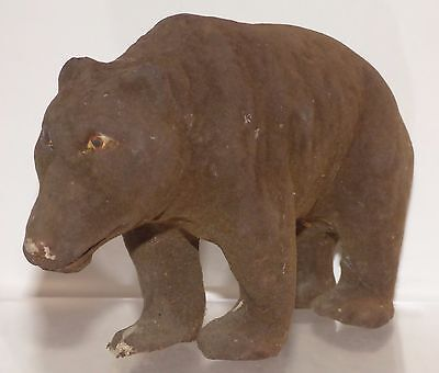 GPM005- Antique German Thuringia papier mache Brown Bear 16cm Long X 10.3 high