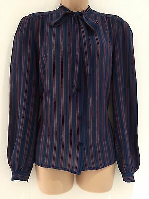 Vintage 80's Retro Blue & Pink Vertical Stripe Pussy Bow Long Sleeve Blouse 14