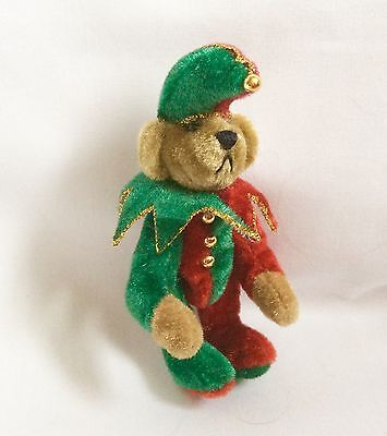 """Hermann Teddy Miniature Limited Edition, 3"""" Bear Jester Suit With Wood Shields"""