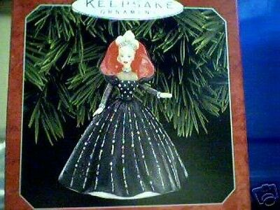 1998 Hallmark HOLIDAY BARBIE ORNAMENT #6 In the Series - Black Gown