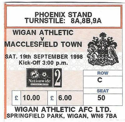 Football Ticket WIGAN ATHLETIC v MACCLESFIELD TOWN Sept 1998
