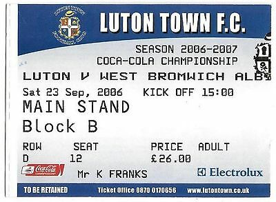 Football Ticket LUTON TOWN v WEST BROMWICH ALBION Sept 2006