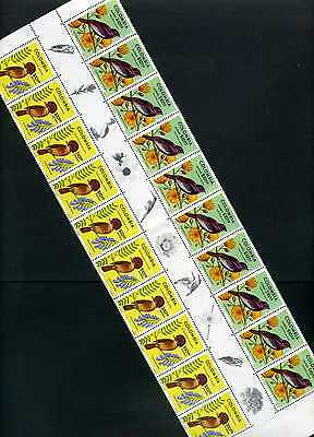 BIRDS OF COLOMBIA  inter space  rare FLOWERS-BIRDS  20 STAMPS 1977 ''CORONATUS'