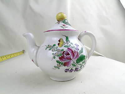 Antique Luneville Demi Porcelaine Made France Teapot Early Hand Painted