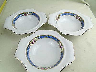 Vintage Antique Sollan Ware Soho Pottery 3 Soup Bowl Plates Early