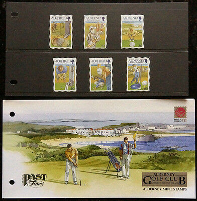 Gb Alderney 2001 Presentation Pack Alderney Golf Club Set 6 Fv £2.35