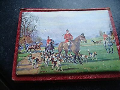 Abel Morrall's Needle Case..book Style..hunting Scene Front ...vintage