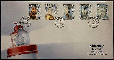 Gb Alderney 2002 Electrification Les Casquets Lighthouse Set 5 Fdc