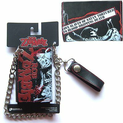 "Rob Zombie Love Slaves Of Satan ""red Stitches"" Blk Chain Wallet New Offical"