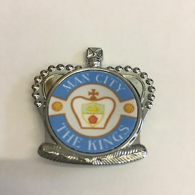 Manchester City SILVER CROWN FOOTBALL INSERT METAL BADGE