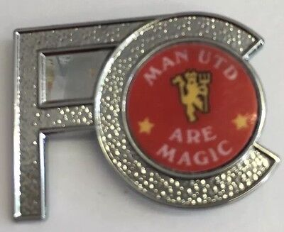 "Manchester United SILVER "" FC ""  FOOTBALL INSERT METAL BADGE"