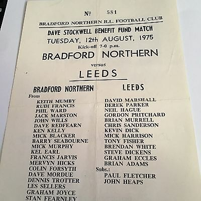 Bradford Northern V Leeds  Dave Stockwell Benefit 12  Aug 1975  S/S Programme