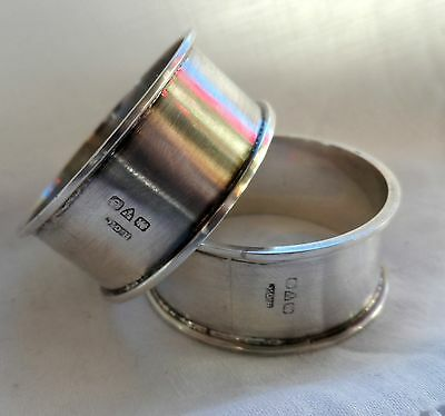 Vintage Sterling Silver Chester Plain Unengraved Pair of Napkin Rings