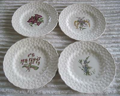 "Set of Four Spode China Bermuda Flowers Embossed 9 1/8"" Plates"