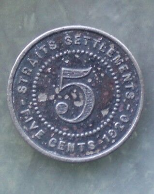 Scarce High Grade Straits Settlements 5 cent coin-