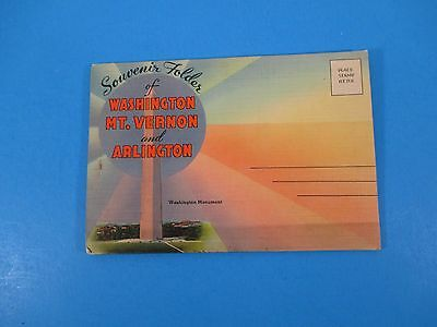 Vintage Souvenir Postcard Folder Washington Mt Vernon & Arlington S3036