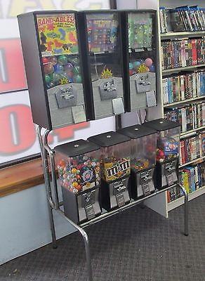 RACK OF 7 NORTHWESTERN GUMBALL VENDING MACHINES Bulk Candy & Toy Capsule