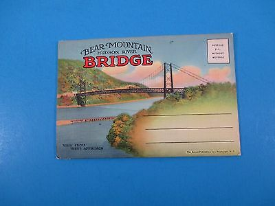 Vintage Souvenir Postcard Folder Bear Mountain Hudson River Bridge S3044