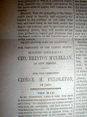 1864 Civil War newspaper GEORGE McCLELLAN nominated for PRESIDENT by DEMOCRATS