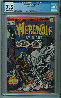 Werewolf By Night #32 Cgc 7.5 1St Moon Knight Off-White To White Pages 1975