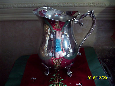 Vintage Leonard Silver Plate Footed Water Pitcher with Ice Guard