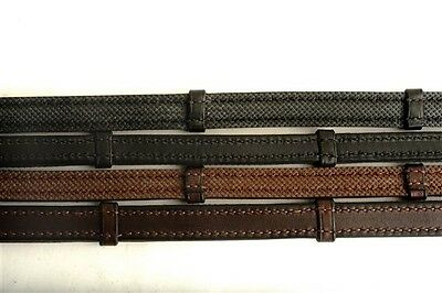 Nunn Finer Rubber Lined Leather Reins w/Stops -Black or Havana Brown- 5/8 or 3/4