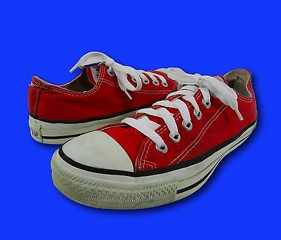 Vintage 90s CONVERSE Red Canvas Low Top Athletic Sneakers Sz 5.5/Wm 7.5 USA Made