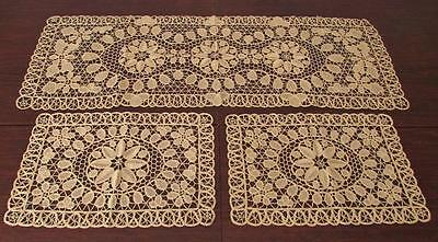 Rare Antique Table Runner & Doily Or Placemat Set Reticella Lace Hand Embroidery