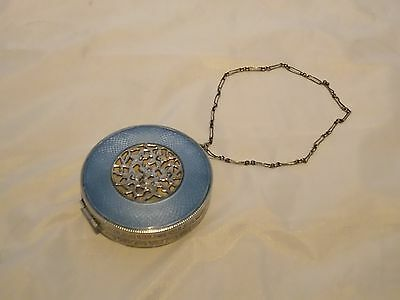 1923  Vintage Compact With A Rich Blue  Enameled Lid
