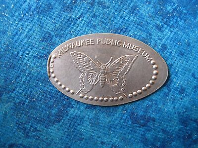MILWAUKEE PUBLIC MUSEUM BUTTERFLY COPPER Elongated Penny Pressed Smashed 25K