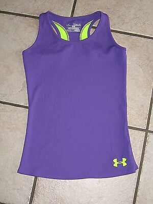 Under Armour Girls Fitted Tank Top Shirt Purple/green Size- Youth Medium