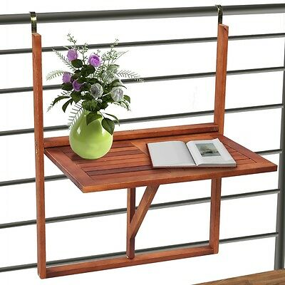New Foldable Balcony Table Wood Hardwood Furniture Patio Park Outdoor Hanging