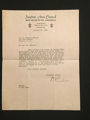 Used Letterhead 1932 Steuben Area Council Boy Scouts Of America Hornell Ny