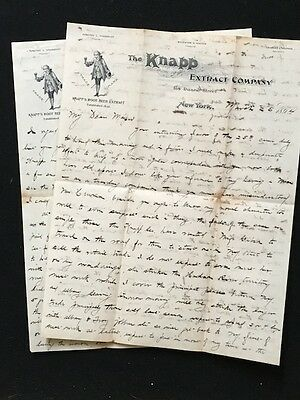 Used Letterhead 1894 Knapp Extract Co New York Ny Illus Colonial Boy 2 Pages