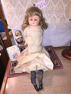 """Antique 25"""" straw stuffed body composition or wax over? pumpkin head doll"""
