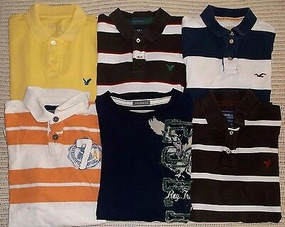 5 Lot Men's Polo Shirts L Large 5 American Eagle 1 Hollister 1 LS Thermal