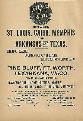1891 St Louis Southwestern Railway, St Louis, Missouri Cotton Belt Route Ad