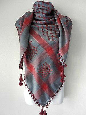 Gray Burgundy Red Embroided Arab Shemagh Head Scarf Neck Wrap Cottton Unisex