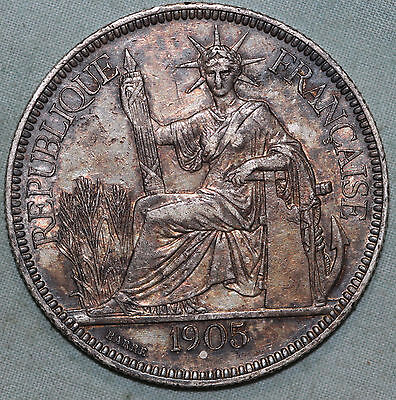 1905 French Indo China Piastre .900 Silver Coin KM 5a.1~Combined S.& H.