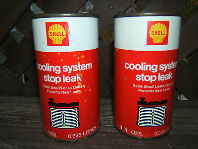 Vintage Shell Cooling System Stop Leak Unopened Cans (2).rare