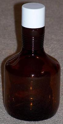 Vintage Amber  Bottle With Screw Top Lid, 18 Ounces