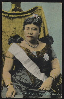 1915 Queen Liliuokalani of Hawaii w/sash, used colorized pc mailed from Hawaii