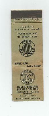 Hull's Sinclair Service Station    Matchcover   Probably 1930s